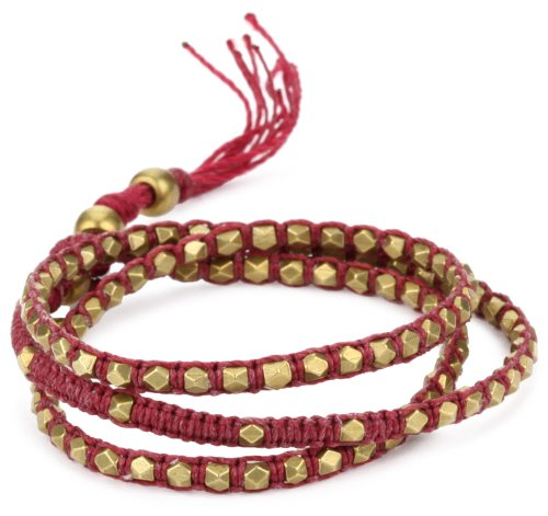 M. Cohen Handmade Designs Tiny Brass Beads on Raspberry Linen Triple Wrap Bracelet, 21.5'' by M.Cohen Handmade Designs