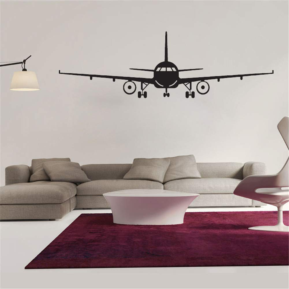 Chic Wall Decals Military Army Cargo Airplane Aircraft Airplane Biplane Silhouette Wall Sticker Decal, Removable DIY Vinyl Plane Wall Decor Art Mural for Kids Boys Gift Durable (L: 51.97 x 16.54 in)