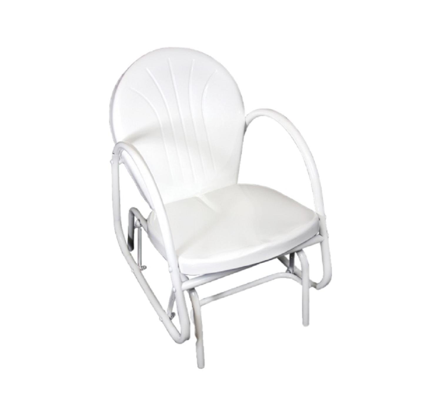Northlight White Retro Metal Tulip Outdoor Single Glider