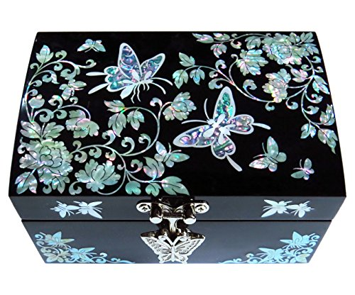 MADDesign Jewelry Box Ring Organizer Mother of Pearl Inlay Mirror Lid Butterfly Black