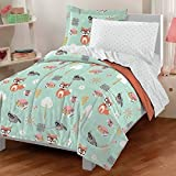 5 Piece Multi Kids Forest Animals Comforter Twin Set, Whimsical Pretty Cute Owl, Fox, Squirrels, Raccoons Print, Sun, Trees Design, Mint Polka Dots Reversible Bedding, Green Pink Orange Vibrant Colors