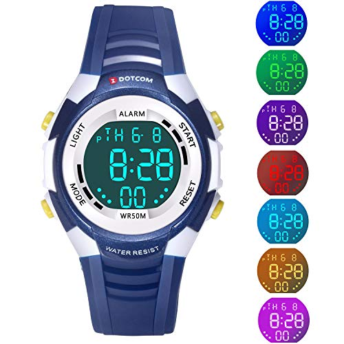 (Kids Digital LED Electronic Analog Quartz Watch 7-Color Lights Multifunction 50M Waterproof Sports Watch Boys and Girls(Blue))