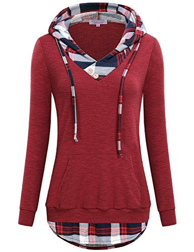 - Misswor Sweatshirts Women, Misses Loft Clothing V Neck Long Sleeve Country Vintage Loose Fitted Pullover Hoodies with Buttons A Line Hooded Pullover Wine XXL