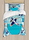 Ambesonne Kids Party Duvet Cover Set Twin Size, Airplane Collection with Different Vessels Commercial Airline Balloon Cartoon, Decorative 2 Piece Bedding Set with 1 Pillow Sham, Multicolor