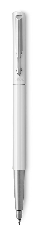 Parker 2025596 Vector stylo plume coffret cadeau pointe fine blanc avec attributs chrom/és encre bleue
