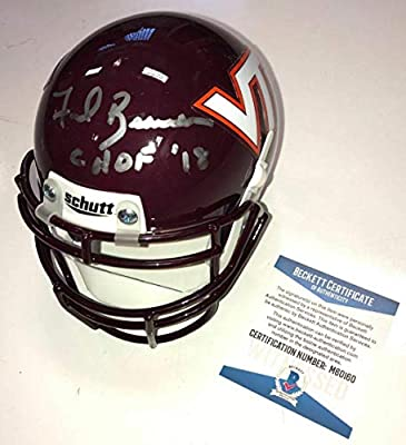 Frank Beamer Signed Virginia Tech VT Hokies Logo Football Beckett BAS COA