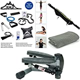 Sunny Health and Fitness Twist-In Step Machine Bundle with 7-Piece Fitness Kit, Sports Zippered Waist Bag and Workout Cooling Towel