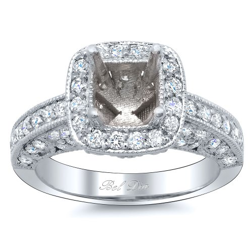 Bel Dia Diamond Ring Setting with Square Halo (0.85 cttw)