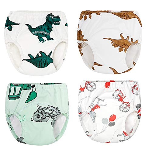 4 Pack Infant Baby Girls Boys' Reusable Toilet Training Pants Waterproof Cartoon Nappy Underwear Cloth Diaper (A 110)