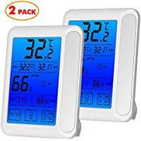 2 Pack Senbowe™ Digital Hygrometer Indoor Room Thermometer Humidity Gauge with Jumbo Touchscreen, Backlight,Max/Min Records,Temperature Humidity Monitor Fahrenheit Or Celsius (White)