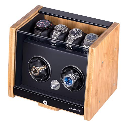 Watch Winders for Automatic Watches, Natural Bamboo Shell Watch Winder Case with 4 Storage Areas, JINS&VICO Luxury Watch Winder Box for Rolex