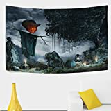 Halloween Scenery with Tombstones Candles and Scarecrow Polyester House Tapestries Room Décor 90x60 Inch Style Decorative Wall Blanket