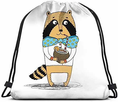 Raccoon Shirt Turquoise Bow Drink Coconut Animals Wildlife Animal Food And Drawstring Backpack Gym Dance Bags For Girls Kids Bag Shoulder Travel Bags Birthday Gift For Daughter Children Women