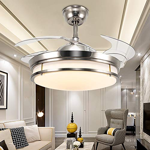 Huston Fan 42 Inch Modern Ceiling Fan Light Indoor Bedroom Living Room LED Chandelier Fan Remote Three Light Source-White,Warm,Neutral,Three Speed,Quiet and Energy Saving,Two Down Rod,Not Dimmable