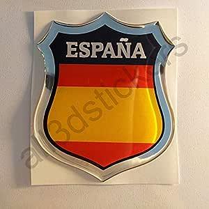 All3dstickers Pegatina España sin Escudo Relieve 3D Escudo Bandera España Resina Adhesivo Vinilo: Amazon.es: Coche y moto