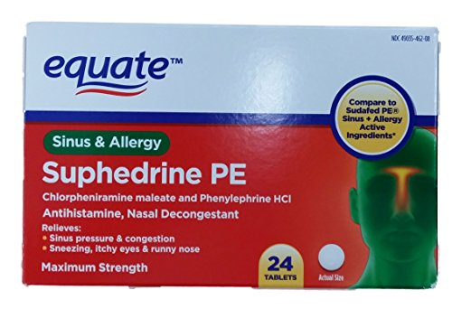 Assimiler Suphedrine PE Maximum Strength Sinus et allergies Comprimés 24ct Comparaison de Sudafed PE Sinus + allergie