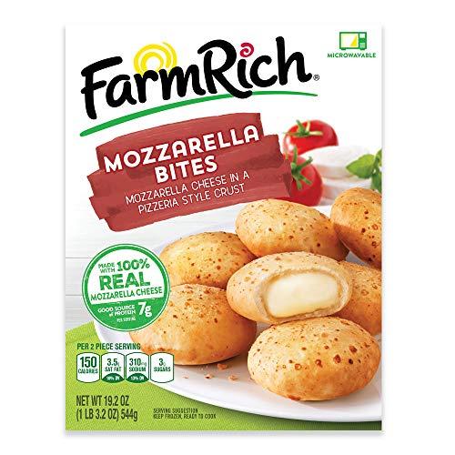 Farm Rich Breaded Mozzarella CheeseBites, Real Mozzarella Cheese in a Pizzeria Style Crust, Frozen, 19.2 - Skim Part Cheese Mozzarella