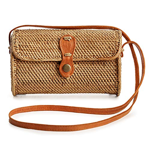 New Rattan Bags for Women - Handmade Wicker Woven Purse Handbag Circle Boho Bag Bali (Grass Purse)