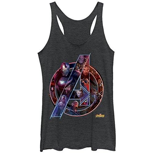 Marvel Women's Avengers: Infinity War Logo Black Heather Racerback Tank Top -