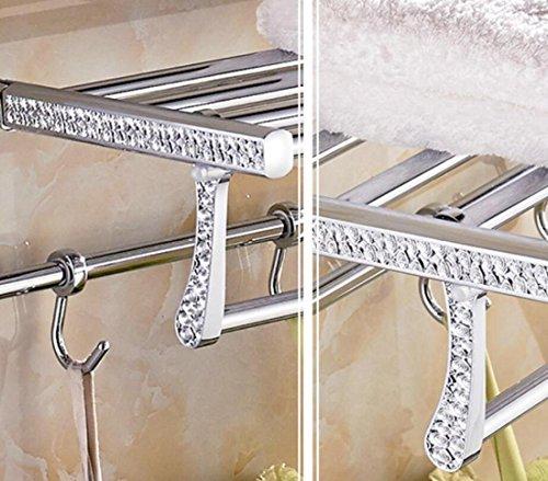 GL&G European luxury Silver Bathroom Bath Towel Rack Oxidation Bathroom Shelf Shower Bathroom Storage Organizer Shelf Wall Mount Bathroom Accessories Bathroom Shelves,6023.513.5cm by GAOLIGUO (Image #1)