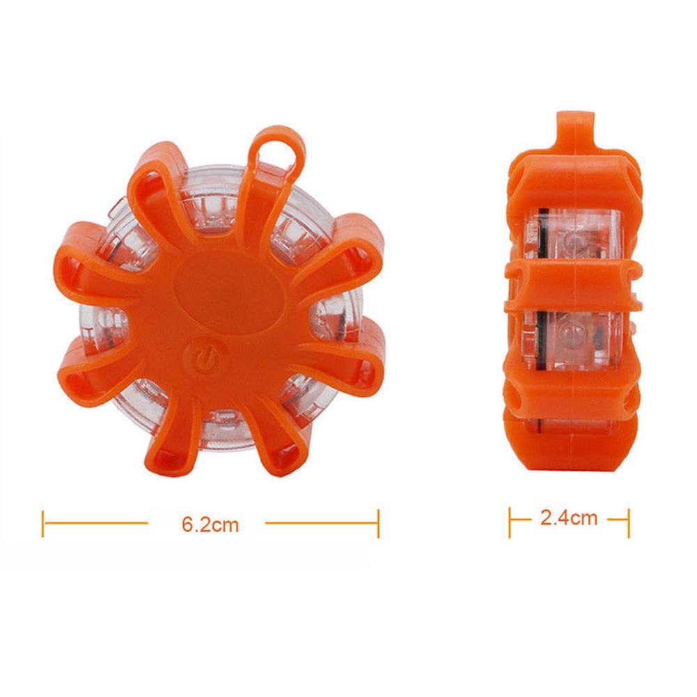 LED Road Flares Emergency,8 LED Road Light Emergency Roadside Safety Beacons SOS First Aid Flashing Roadside Flare Warning Ultra-bright Light with Magnetic Base for Car Truck Boat