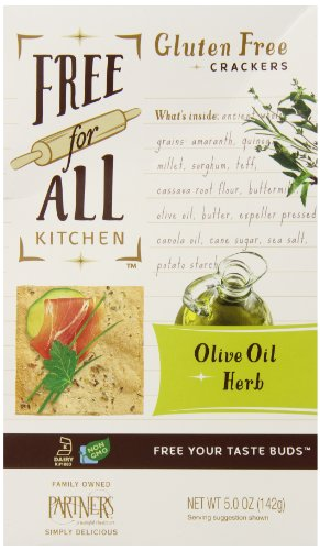 Free for All Kitchen Gluten Free Crackers Boxes, Olive Oil and Herb, 5 Ounce