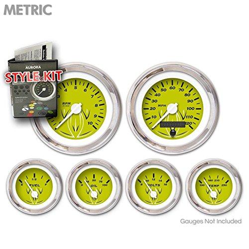 Aurora Instruments 4718 Pinstripe Green Metric Style Kit White Vintage Needles, Chrome Trim Rings