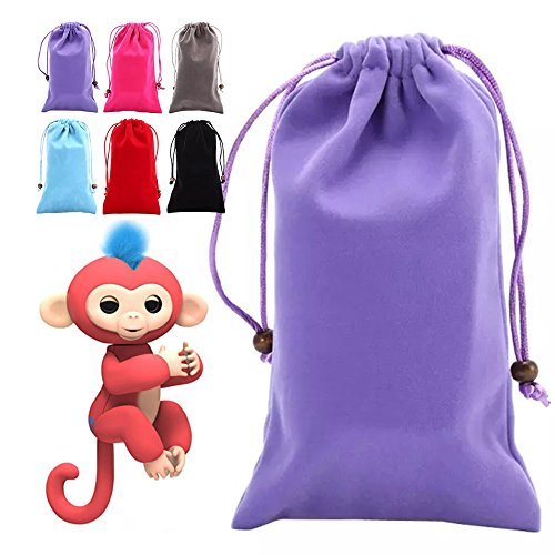 LUCKSTAR Monkey Storage Bags - Drawstring Storage Bag For Finger Monkey Kids Toys Dolls Portable Villus Pocket Portable Box Storage Bag For Finger Monkey Mobile Phone Portable Power Supply (Purple)