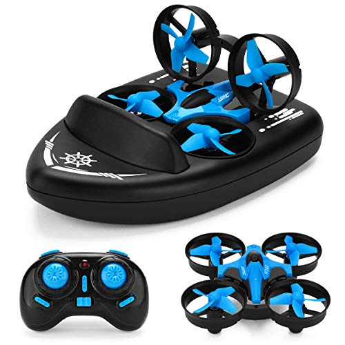 Mini Drone for Kids,2.4G Remote Control 3 in 1 Drone Vehicle Boat RTF Rc Quadcopter Waterproof Hovercraft Toy Gift Rc Boat for Kids