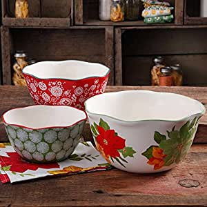 The Pioneer Woman 3-Piece Scalloped Edge Ceramic Serving Bowl Set- Multicolored, Dishwasher and Microwave Safe PACK OF 1