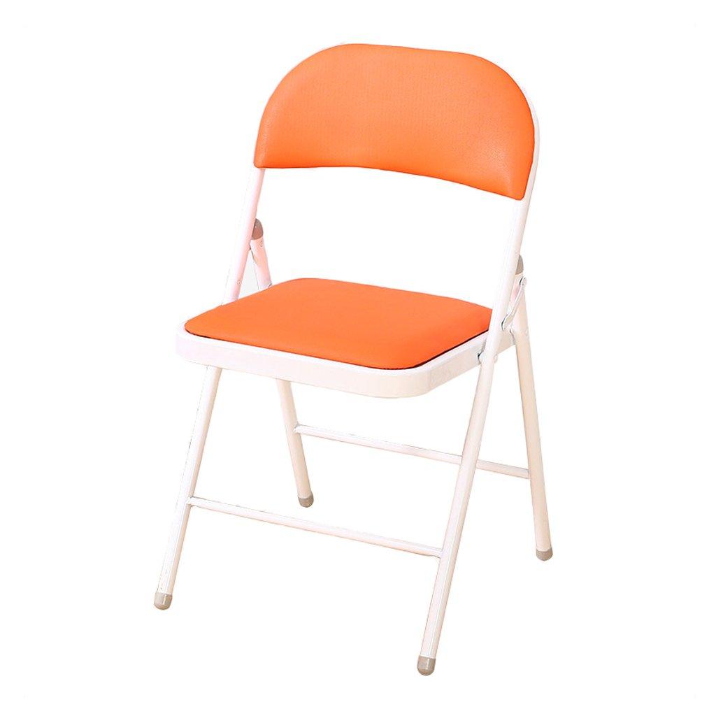GFL椅子折りたたみ椅子レザースポンジFillingホームコンピュータOffice背もたれ椅子防水ノンスリップ(A + + +) オレンジ B07F37XMDB  オレンジ