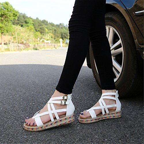 Tobillo Zapatos Punta Strappy playa Mujer romano HN Pisos Enviar Correa white Verano abierta Shoes Sandalias EOFxYq8