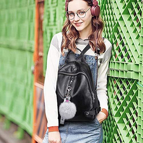 Color Black Sólido La Negro Las Simple Escuela Pu Motocicleta Bolso De Mochila Coreano Mujeres Cuero 4zxEqw6nS8