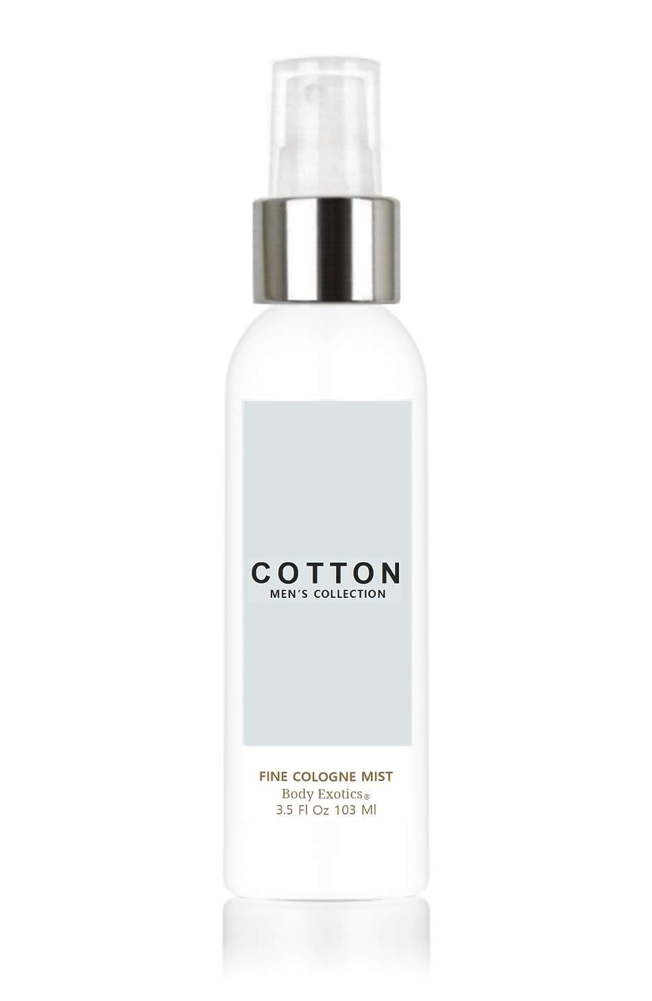 Cotton Men's Collection Fragrance Cologne Mist by Body Exotics 3.5 Fl Oz 103 Ml - the Nostalgic Aroma of Clean Cotton Dried on a Fresh Breezy Day