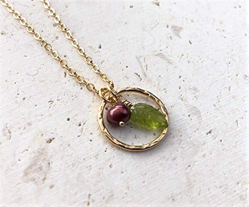 Green Peridot Leaf Cultured Berry Pearl Pendant Necklace - Spring Summer - Jewelry Gift For Women