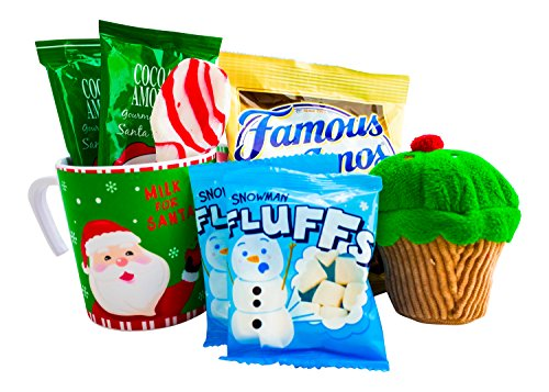 Christmas Hot Cocoa and Cookies Gift For Kids With Mug, Hot Chocolate, Marshmallows, Cookies, Xmas Plush, and a Candy Cane Spoon - Best Gift Idea For Children or Grandchildren (Santa) (Xmas Cookie Gift Baskets)