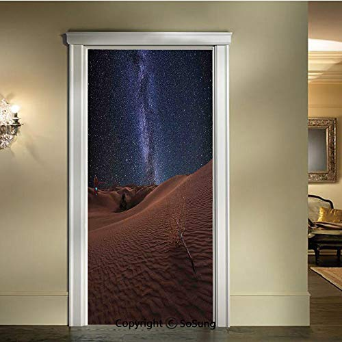 baihemiya 3D Door Mural Wallpaper Stickers,Life-on-Mars-Themed-Surreal-Surface-of-Gobi-Desert-Dune-Oasis-Lunar-Adventure-Photo,W30.3xL78.7inch,Self-Adhesive Wall Door Stickers DecorBrown-Blue