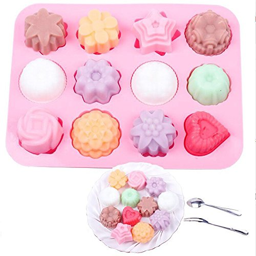 YUGHGH 12 Holes Silicone Mold for Chocolate, Cake, Jelly, Pudding, Handmade Soap, Shape, Pink