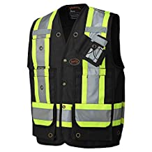 Pioneer V1010670-S Construction Reflective Surveyor Safety Vest, Black, S