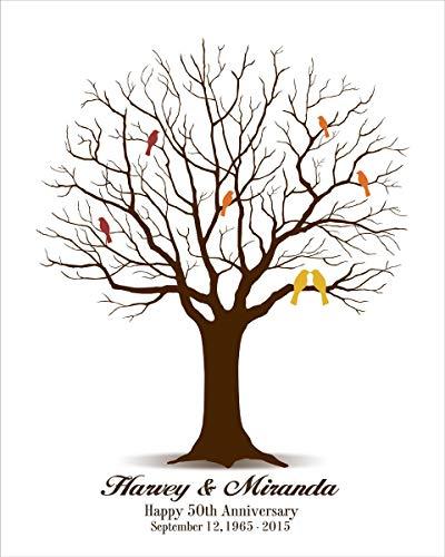 Monsety 50th Wedding Anniversary, Gold Wedding Fingerprint Tree,