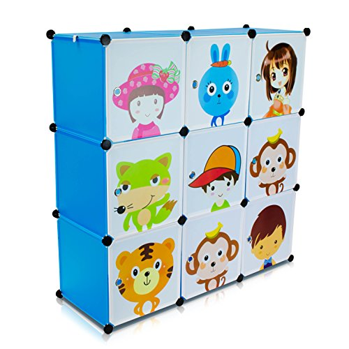 VENKON - Kinderzimmer Steckschrank DYI Steckregal System Regalschrank: 9-Module-Set, blau