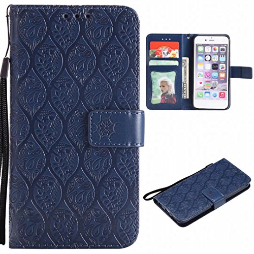 Huawei Founded P10 Lite, Yiizy Flowers Cover Rattan Style Leather Flip Wallet Leather Case Cover Huawei P10 Lite Silicone Tpu Support Card Slot Protective Magnetic Closure (gray) Dark Blue