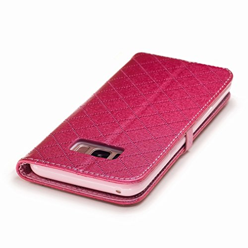 Yiizy Samsung Galaxy S8+ / S8 Plus Custodia Cover, Amare Design Sottile Flip Portafoglio PU Pelle Cuoio Copertura Shell Case Slot Schede Cavalletto Stile Libro Bumper Protettivo Borsa (Rose Red)