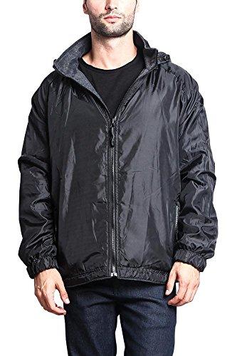 (G-Style USA Men's Reversible Fleece Lined Classic Hooded Windbreaker Jacket LAX - Black - X-Large)