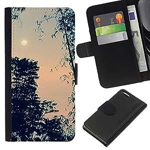 Noche cielo luna noche de los árboles- la tarjeta de Crédito Slots PU Funda de cuero Monedero caso cubierta de piel Para Apple iPhone 5C