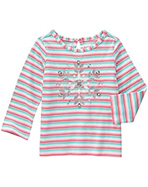 Baby Girls' Multi-Colored Stripe Snowflake Graphic Tee