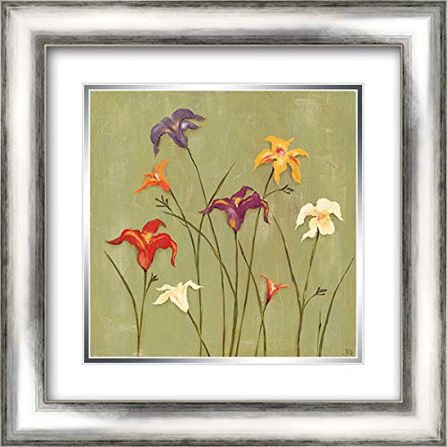 Jeweled Lilies II 20x20 Silver Contemporary Wood Framed and Double Matted Art Print by Reynolds, Jade