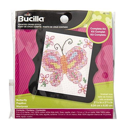 Bucilla 46150 Counted Cross Stitch Beginner Stitchery Mini Kit, Butterfly ()