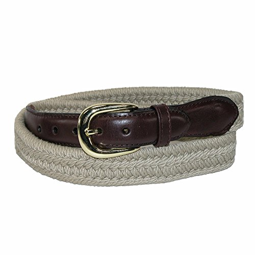 Rogers-Whitley Men's Cotton with Leather Trim Braided Belt, 38, Tan ()