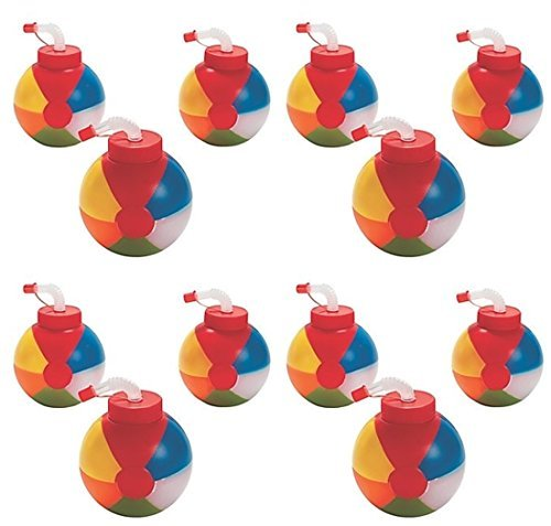 Fun Express 12 - BEACH BALL Pool Party CUPS with straws ()